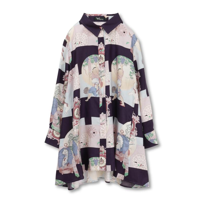 シャツジャケット <鳩時計/紫> 【Pagong】 和柄 レディース シャツ 長袖 チュニック丈 京友禅 リヨセル100%