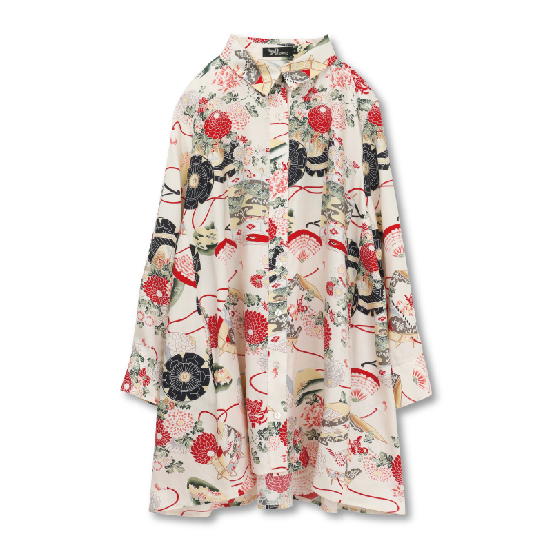 シャツジャケット <貝桶/白赤> 【Pagong】 和柄 レディース シャツ 長袖 チュニック丈 京友禅 リヨセル100%