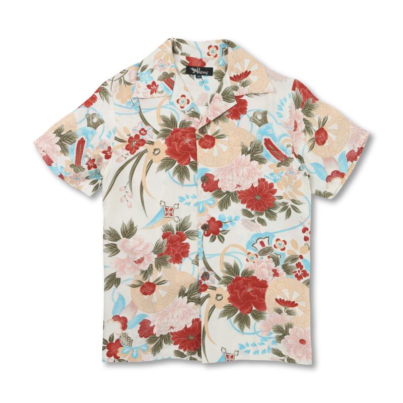 アロハシャツ <花車と宝尽し/白赤> 【Pagong】 アロハ 和柄 京友禅 シルク100%