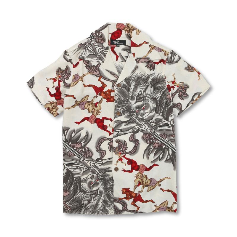 アロハシャツ <地獄の鬼/肌色> 【Pagong】 アロハ 和柄 京友禅 シルク100%