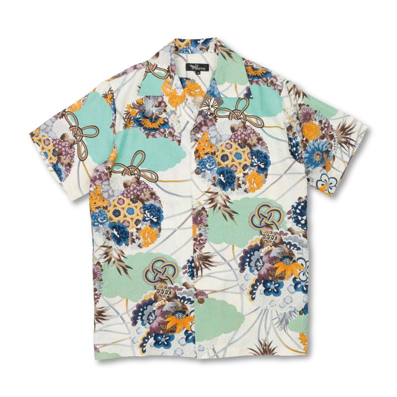 アロハシャツ <薬玉/白茶> 【Pagong】 アロハ 和柄 京友禅 シルク100%