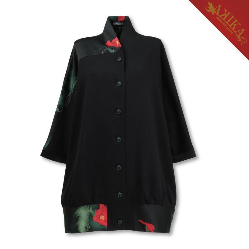 切替ジャケット<けし/黒赤> 【Pagong】 パゴン 【AKIKA】 和柄 京友禅 ジャケット ポリエステル素材