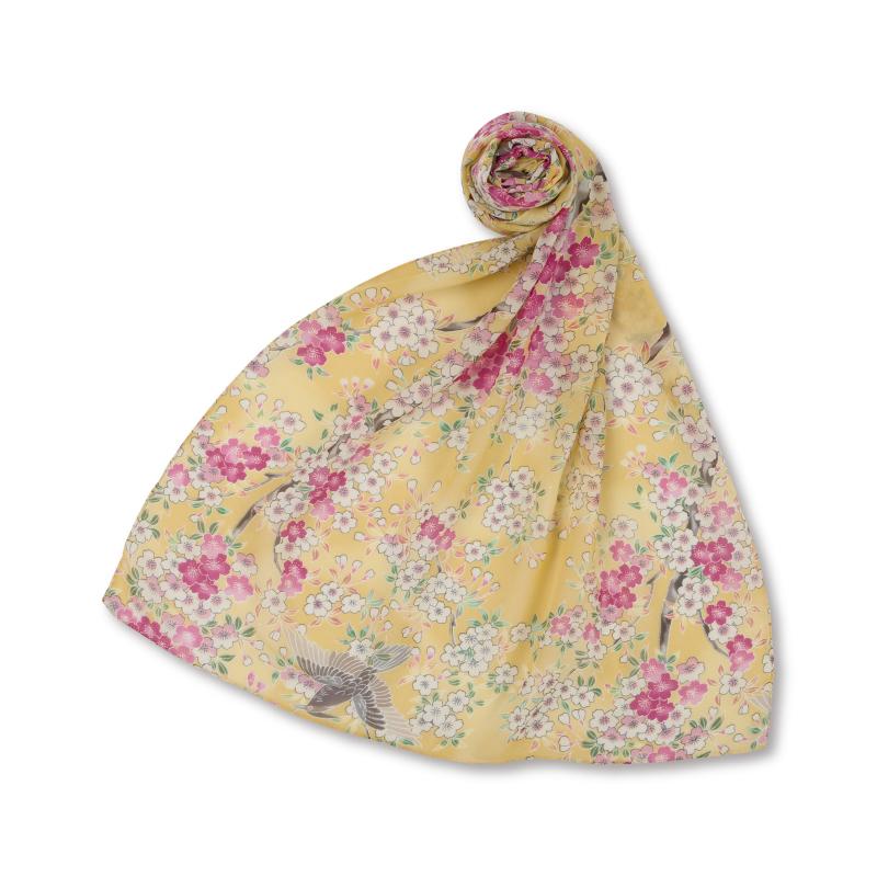 シルクスカーフ <さくら/淡黄> 【Pagong】 和柄 スカーフ ストール 京友禅 UV加工 シルク100%