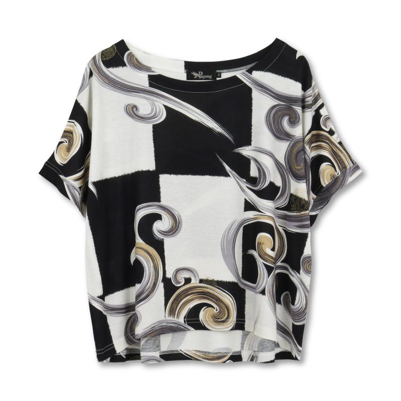 ビッグTシャツ <市松に水模様/白黒> 【Pagong】 和柄 カットソー ドルマンスリーブ 京友禅 レーヨン75%コットン25%