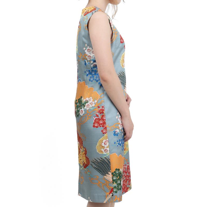 ワンピースドレス <百年の鶴/鼠橙> 【Pagong】 和柄 ワンピース 京友禅 ポリエステル100%