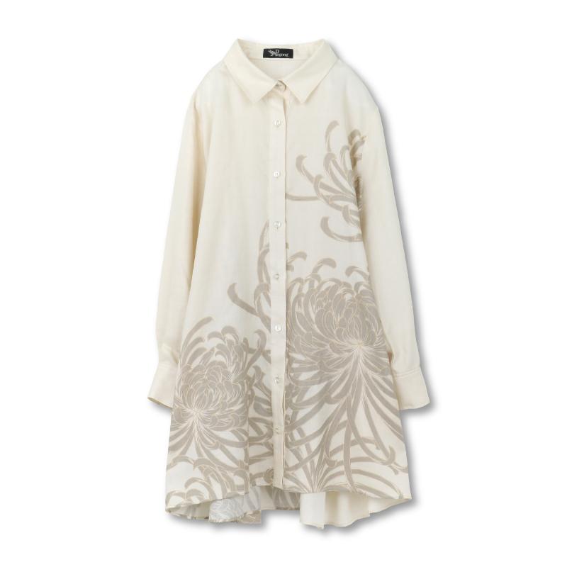 シャツジャケット <乱菊/砂色> 【Pagong】 和柄 レディース シャツ 長袖 チュニック丈 京友禅 リヨセル100%