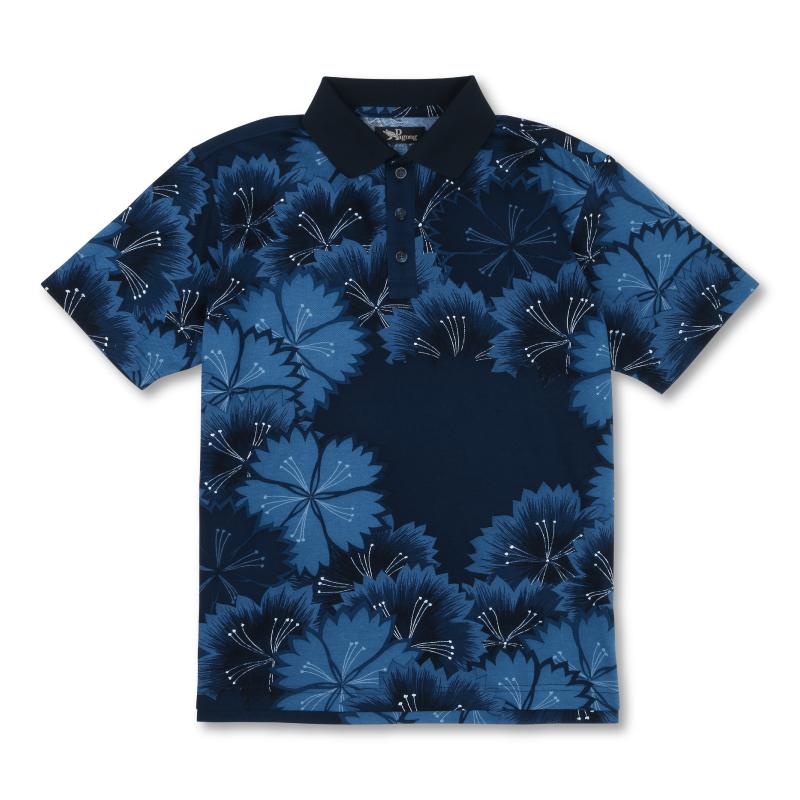 メンズポロシャツ <なでしこ/紺> 【Pagong】 京友禅 和柄 ポロシャツ メンズ コットン100%
