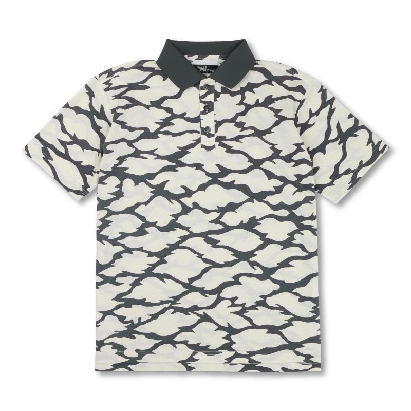 メンズポロシャツ <切金文様/白墨> 【Pagong】 京友禅 和柄 ポロシャツ メンズ コットン100%