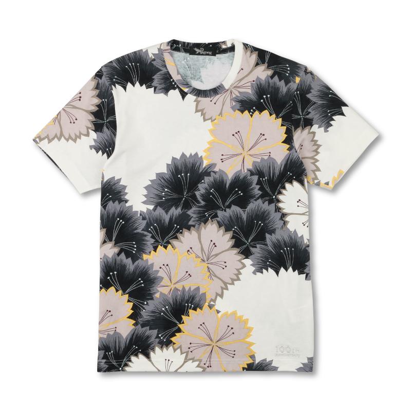 メンズ半袖Tシャツ <なでしこ/白黒茶> 【Pagong】 和柄 半袖 Tシャツ メンズ 京友禅 コットン100%