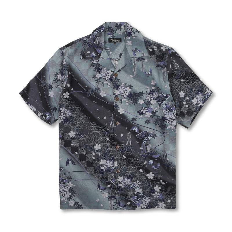 アロハシャツ <桜ぼかし/黒銀> 【Pagong】 アロハ 和柄 京友禅 シルク100%