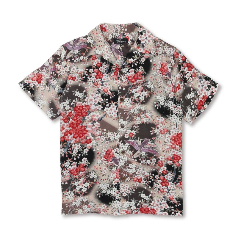 アロハシャツ <さくら/黒茶> 【Pagong】 アロハ 和柄 京友禅 シルク100%