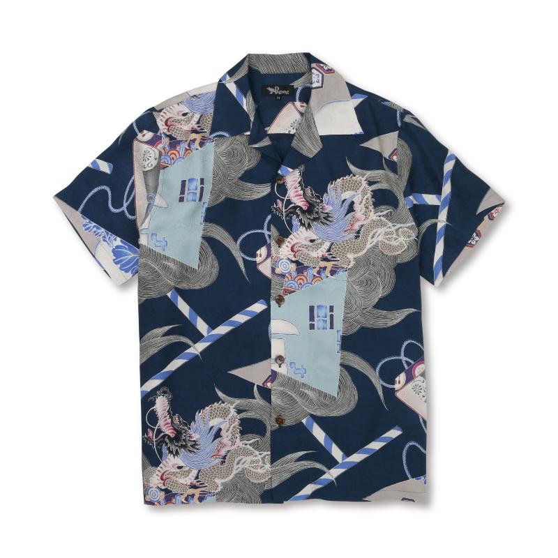 アロハシャツ <龍神/紺> 【Pagong】 アロハ 和柄 京友禅 シルク100%