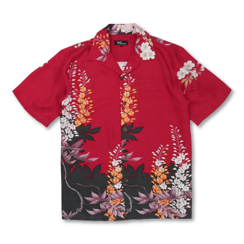 アロハシャツ <藤/赤黒> 【Pagong】 アロハ 和柄 京友禅 シルク100%