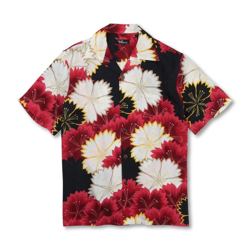 アロハシャツ <なでしこ/赤黒> 【Pagong】 アロハ 和柄 京友禅 シルク100%