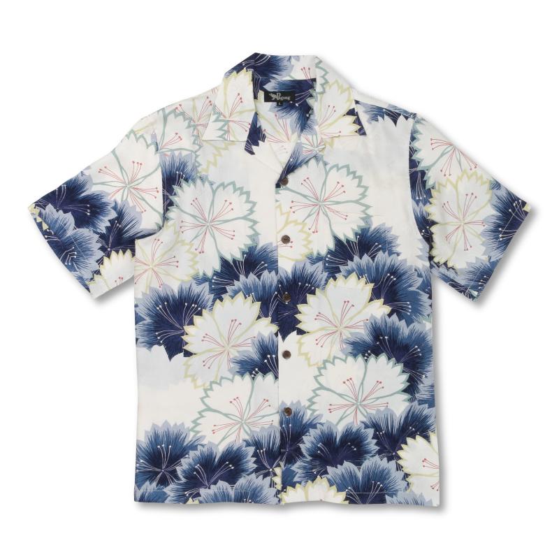 アロハシャツ <なでしこ/白紺> 【Pagong】 アロハ 和柄 京友禅 シルク100%