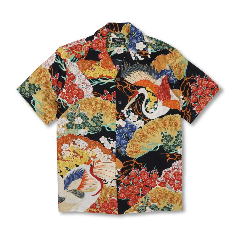 アロハシャツ <百年の鶴/黒橙> 【Pagong】 アロハ 和柄 京友禅 シルク100%