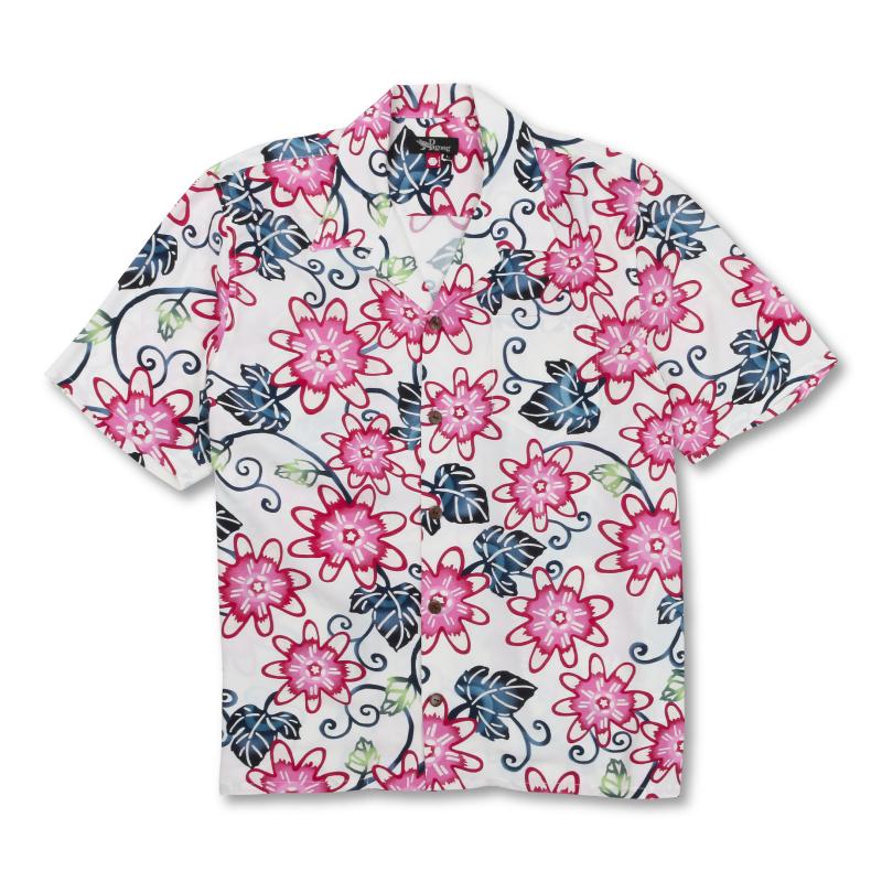 レーヨンアロハシャツ <時計草/白紅> 【Pagong】 和柄 アロハ 京友禅 メンズ レーヨン100%