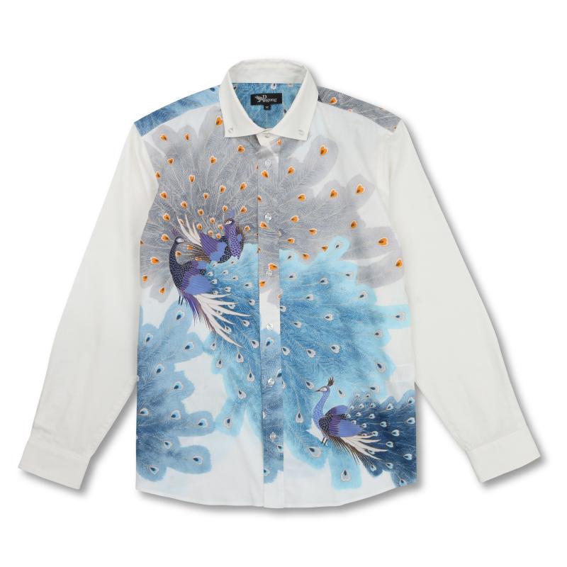 ボタンダウンシャツ <孔雀/青鼠> 【Pagong】 和柄 長袖 ボタンダウン メンズ 京友禅 コットン98%ポリウレタン2%