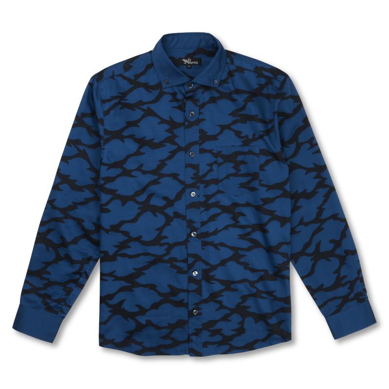 綿サテンシャツ <切金文様/紺黒> 【Pagong】 京友禅 和柄 長袖 ボタンダウン メンズ コットン100%
