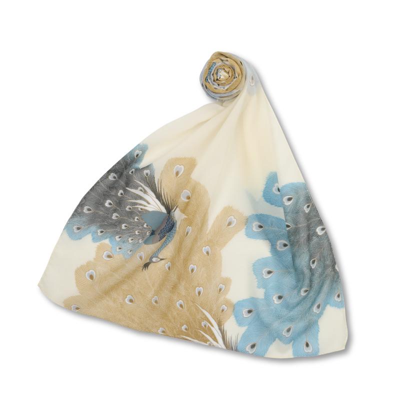 シルクスカーフ <孔雀/青鼠> 【Pagong】 和柄 スカーフ ストール 京友禅 UV加工 シルク100%