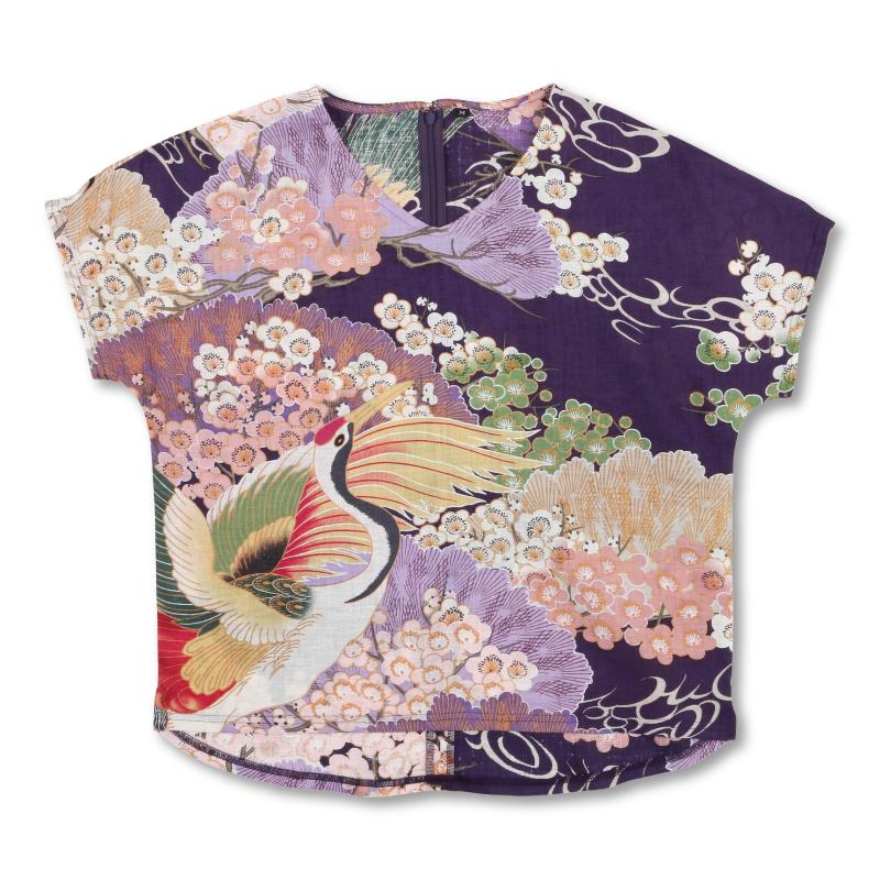 Vネックプルオーバー <百年の鶴/赤紫> 【Pagong】 和柄 京友禅 プルオーバー 麻素材 麻100%
