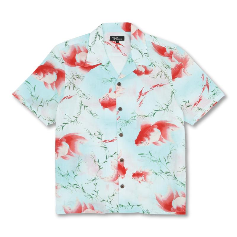 コットンアロハシャツ <金魚/淡水色> 【Pagong】和柄 アロハシャツ メンズ 綿麻 京友禅 コットン70%麻30%