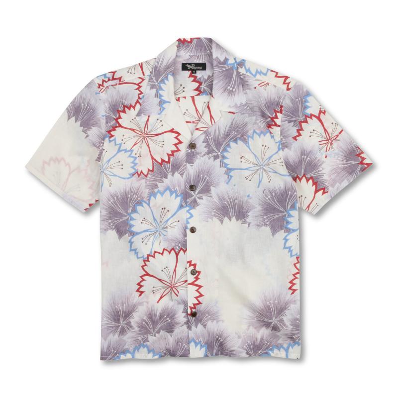 コットンアロハシャツ <なでしこ/薄紫> 【Pagong】和柄 アロハシャツ メンズ 綿麻 京友禅 コットン70%麻30%
