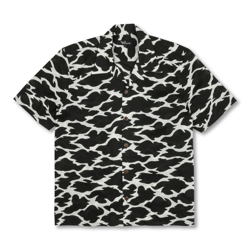 コットンアロハシャツ <切金文様/黒白> 【Pagong】和柄 アロハシャツ メンズ 綿麻 京友禅 コットン70%麻30%