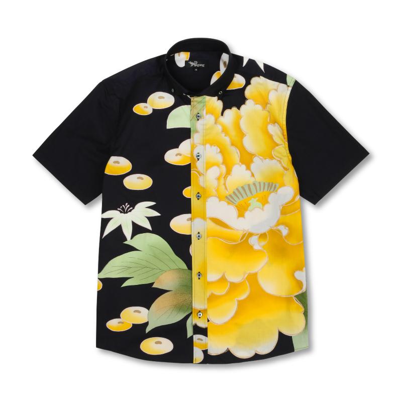 半袖ボタンダウンシャツ <大牡丹と光琳菊/黒黄> 【Pagong】 和柄 京友禅 半袖 ボタンダウン メンズ コットン98%ポリウレタン2%