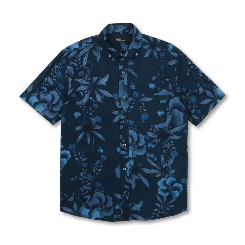 半袖ボタンダウンシャツ <麻と桔梗/濃紺> 【Pagong】 和柄 京友禅 半袖 ボタンダウン メンズ コットン98%ポリウレタン2%