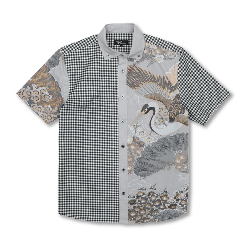 切替半袖ボタンダウンシャツ <百年の鶴/灰> 【Pagong】 和柄 京友禅 半袖 ボタンダウン メンズ ギンガムチェック切替
