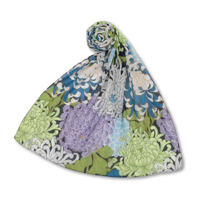 シルクスカーフ <大輪菊/紺緑> 【Pagong】 和柄 スカーフ ストール 京友禅 UV加工 シルク100%