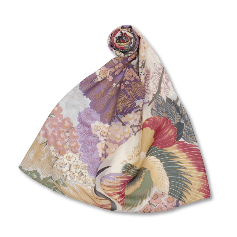 シルクスカーフ <百年の鶴/鼠紫> 【Pagong】 和柄 スカーフ ストール 京友禅 UV加工 シルク100%
