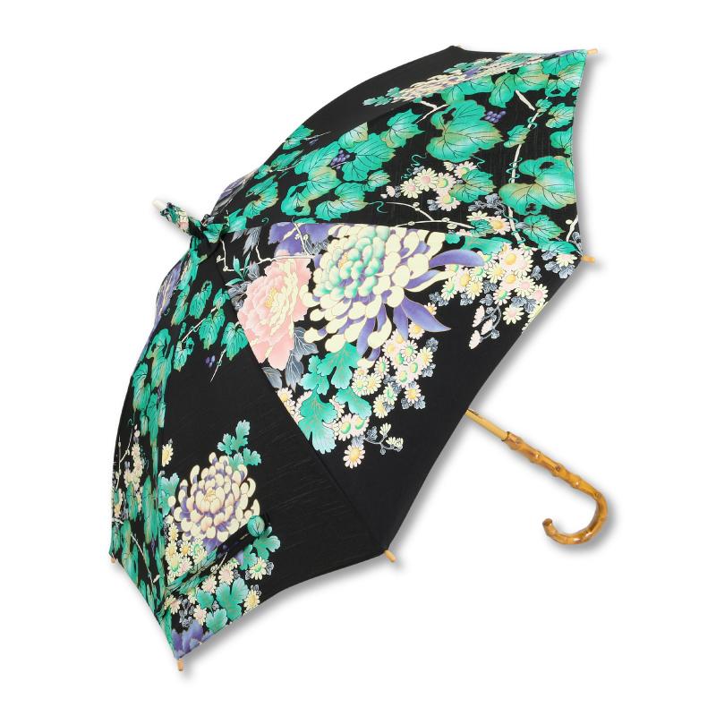 日傘 <蔦と菊牡丹/黒緑> 【Pagong】 パゴン 京友禅 和柄 レディース 日傘