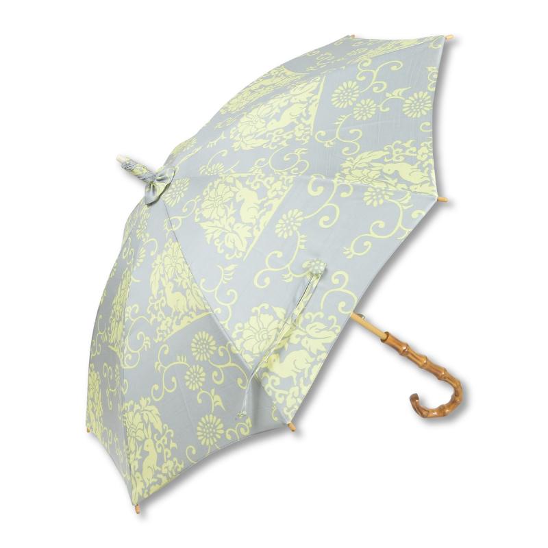 日傘 <花うさぎ/鼠黄> 【Pagong】 パゴン 京友禅 和柄 レディース 日傘
