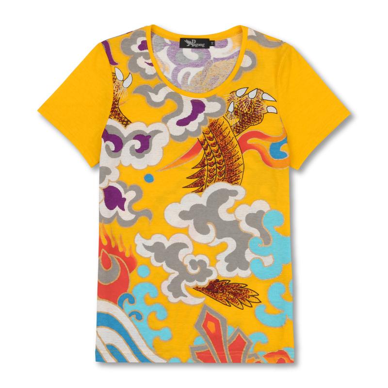 Uネック半袖 <意休の龍/黄色> 【Pagong】 和柄 カットソー 半袖 京友禅 歌舞伎 コットン100%