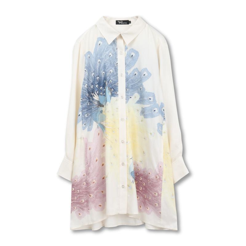 シャツジャケット <孔雀/白紺> 【Pagong】 和柄 レディース シャツ 長袖 チュニック丈 京友禅 リヨセル100%