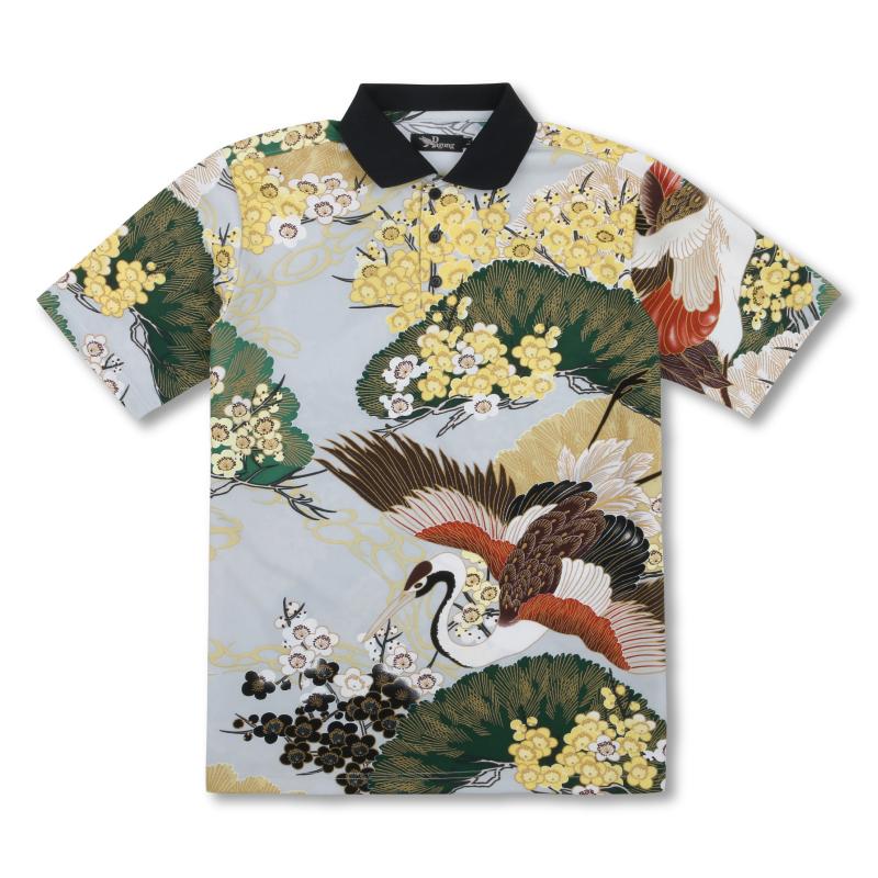 メンズポロシャツ <百年の鶴/灰緑> 【Pagong】 パゴン 京友禅 和柄 ポロシャツ メンズ ポリエステル100%