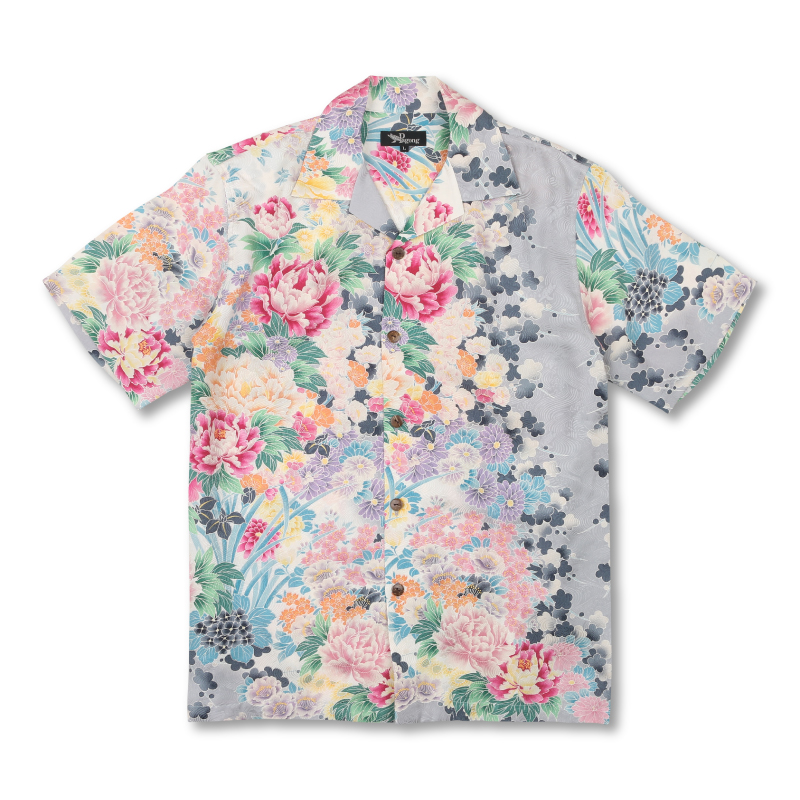 アロハシャツ <四季花/銀鼠> 【Pagong】 パゴン アロハ 和柄 京友禅 シルク100%