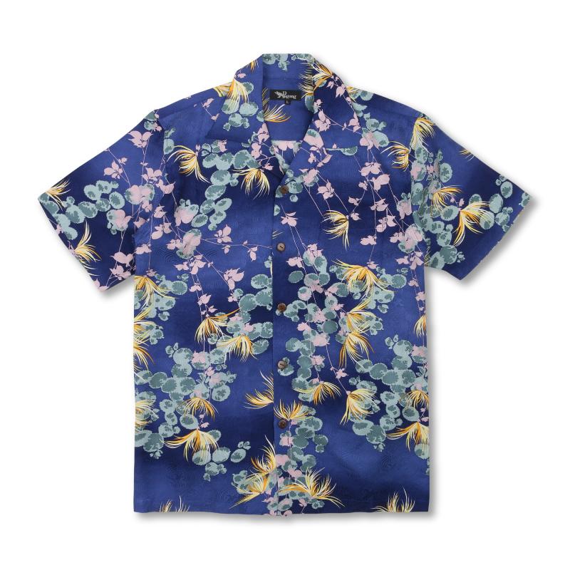 アロハシャツ <菊に常盤木/青紫> 【Pagong】 パゴン アロハ 和柄 京友禅 シルク100%