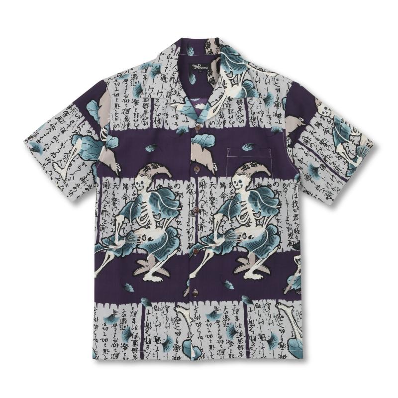 ドライアロハシャツ <勧進帳/紫> 【Pagong】 パゴン アロハ 和柄 京友禅 ポリエステル100%