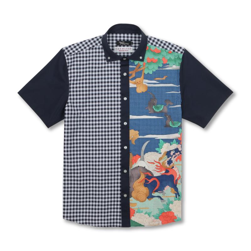 切替半袖ボタンダウンシャツ <鳥獣花木図屏風/青> 【Pagong】 和柄 京友禅 半袖 ボタンダウン メンズ