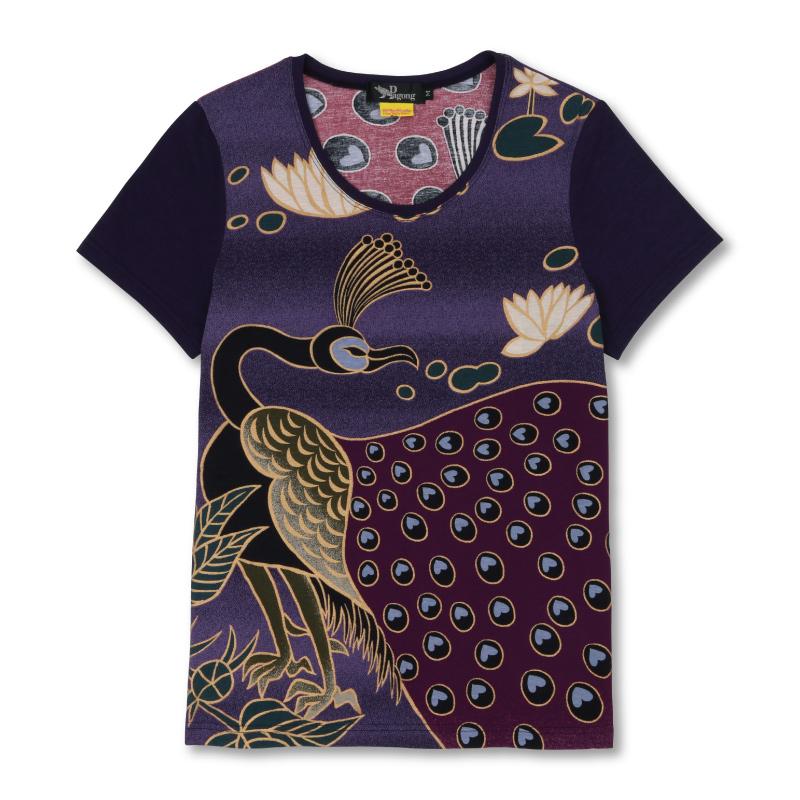 Uネック半袖 【Pagong】 和柄 カットソー 半袖 京友禅 <孔雀と睡蓮/紫> コットン100%