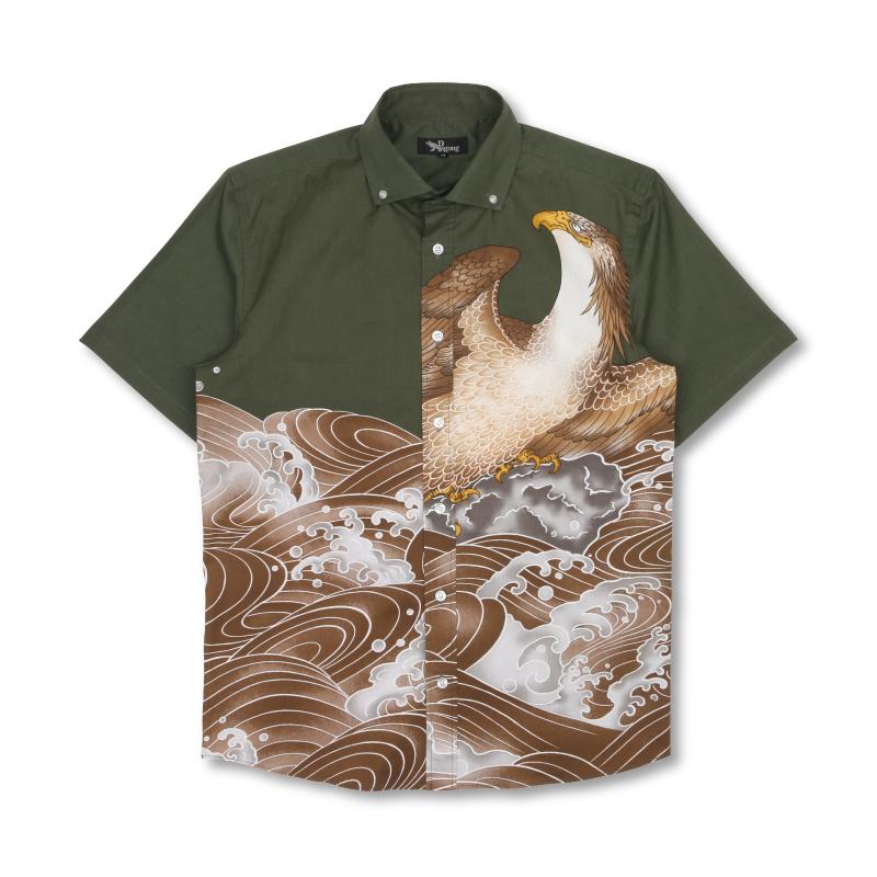 半袖ボタンダウンシャツ 【Pagong】 和柄 半袖 ボタンダウン メンズ 京友禅 <鷲/鶯色> コットン98%ポリウレタン2%