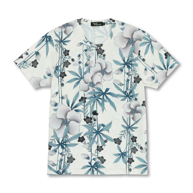 メンズ半袖Tシャツ 【Pagong】 和柄 半袖 Tシャツ メンズ 京友禅 <麻と桔梗/白鼠> コットン100%