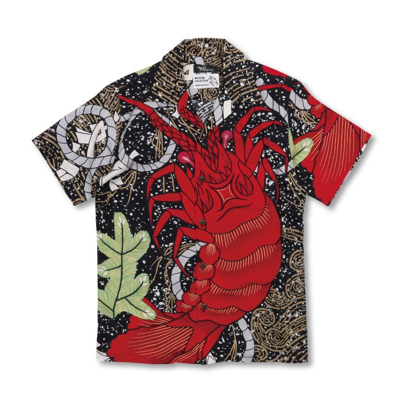 シルクアロハシャツ 【Pagong】和柄 アロハ メンズ ミュージアムコレクション 歌舞伎 <海老/黒赤> シルク100%