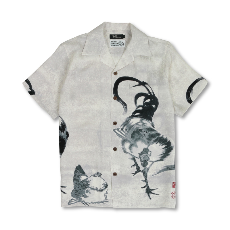 【Pagong】和柄 アロハシャツ メンズ ミュージアムコレクション・伊藤若冲 <鶏図押絵貼屏風/白黒>シルク100%