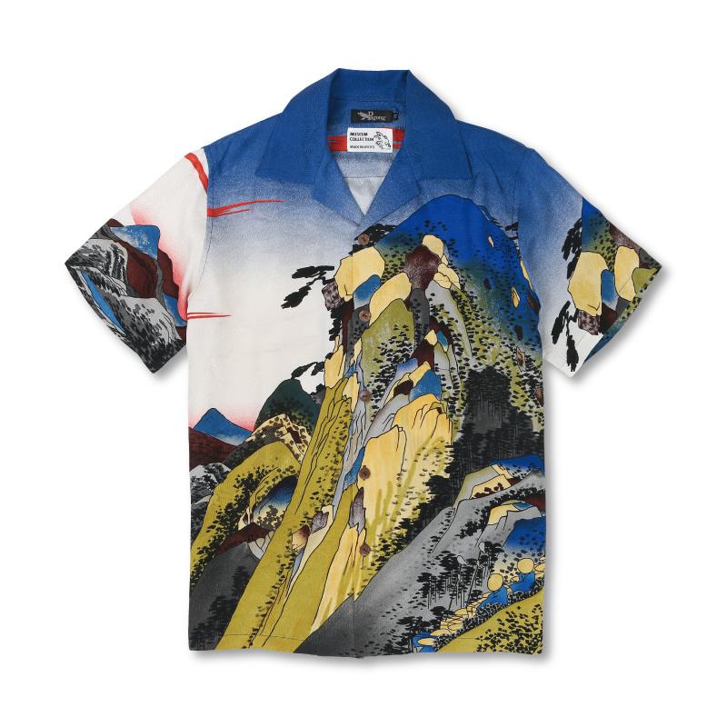 シルクアロハシャツ 【Pagong】和柄 アロハ メンズ ミュージアムコレクション 歌川広重 <東海道五十三次箱根/白青> シルク100%