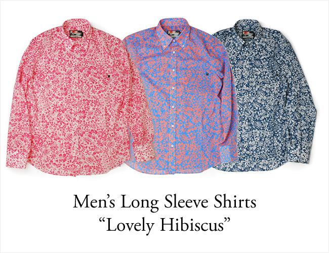 アロハシャツ メンズ(男性用)「Lovely Hibiscus」全3色 長袖 XL3L 大きいサイズあり 沖縄結婚式にアロハシャツ