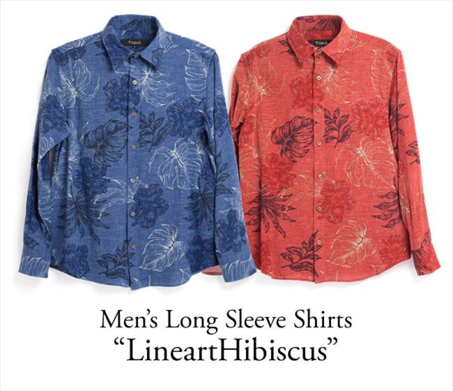 アロハシャツ メンズ(男性用)「LineartHibiscus」全2色 長袖 XL3L 大きいサイズあり 沖縄結婚式にアロハシャツ